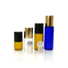 Mini travel essential oil perfume amber clear blue glass roller ball bottle 1ml 2ml 3ml 5ml with aluminum cap and roller ball
