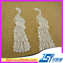 Peacock hand applique embroidery work design lace stock on sale