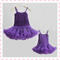 Dress design wholesale baby straps baby rosette chiffon dress for girls birthday