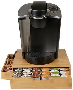 Bamboo 36 Capacity K-Cup Single Serve Coffee Pod storage Drawer with Side Condiment Caddy Organizer