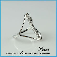 Trendy jewelry with plated brass silver color lips design rings