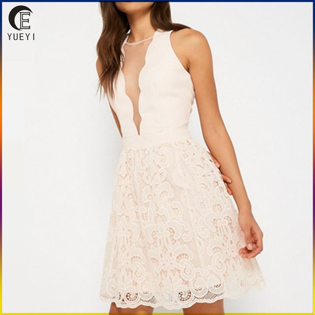 wholesale lace hem prom dress pink party dresses for women