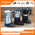 Hot sales 3-6 cup electric aluminum moka coffee double with CE/ROHS/GS/LFGB