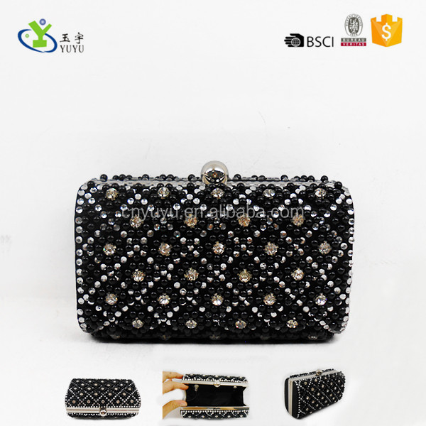 Diamond and beaded evening box clutch