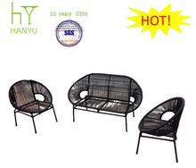 good selling outdoor furniture black round shape miami rattan furniture
