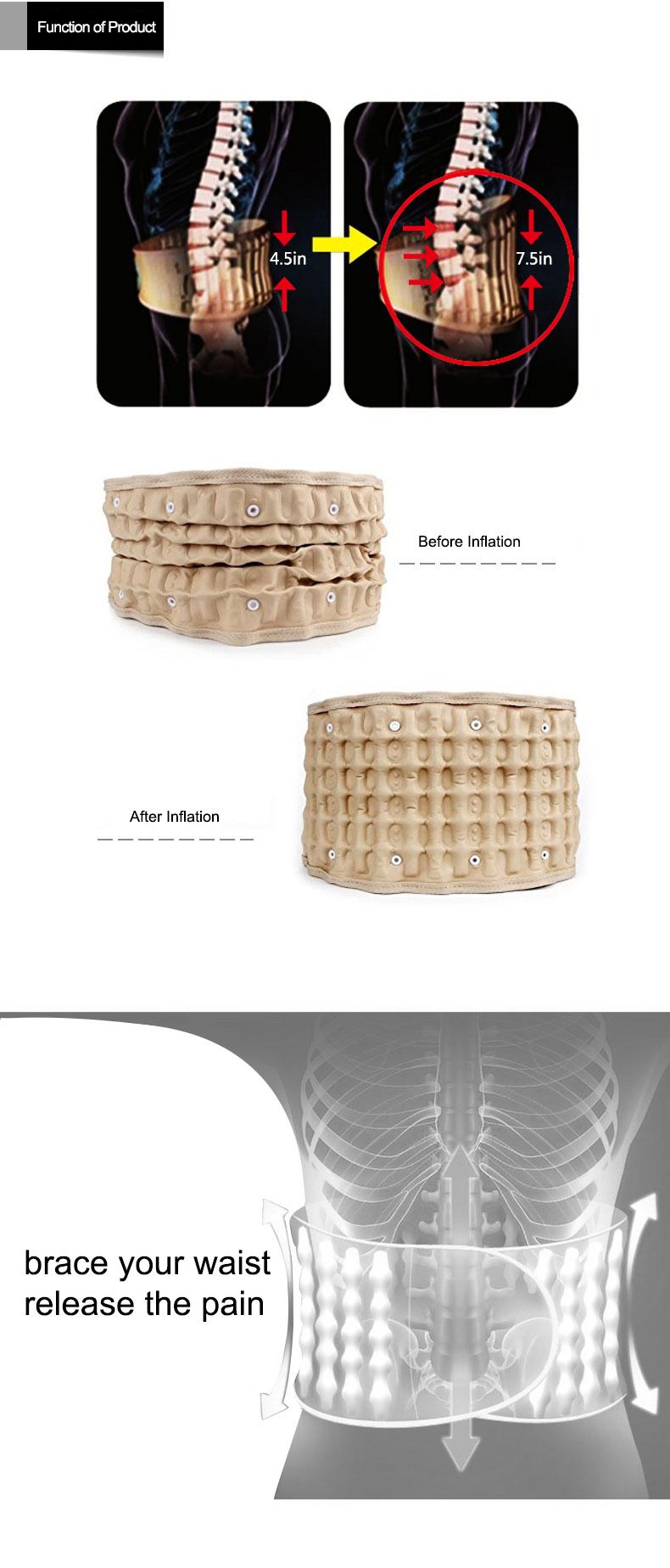 Application sur le corps et type de ceinture de massage Ceinture arrière à traction aérienne pour soulager la douleur à la taille