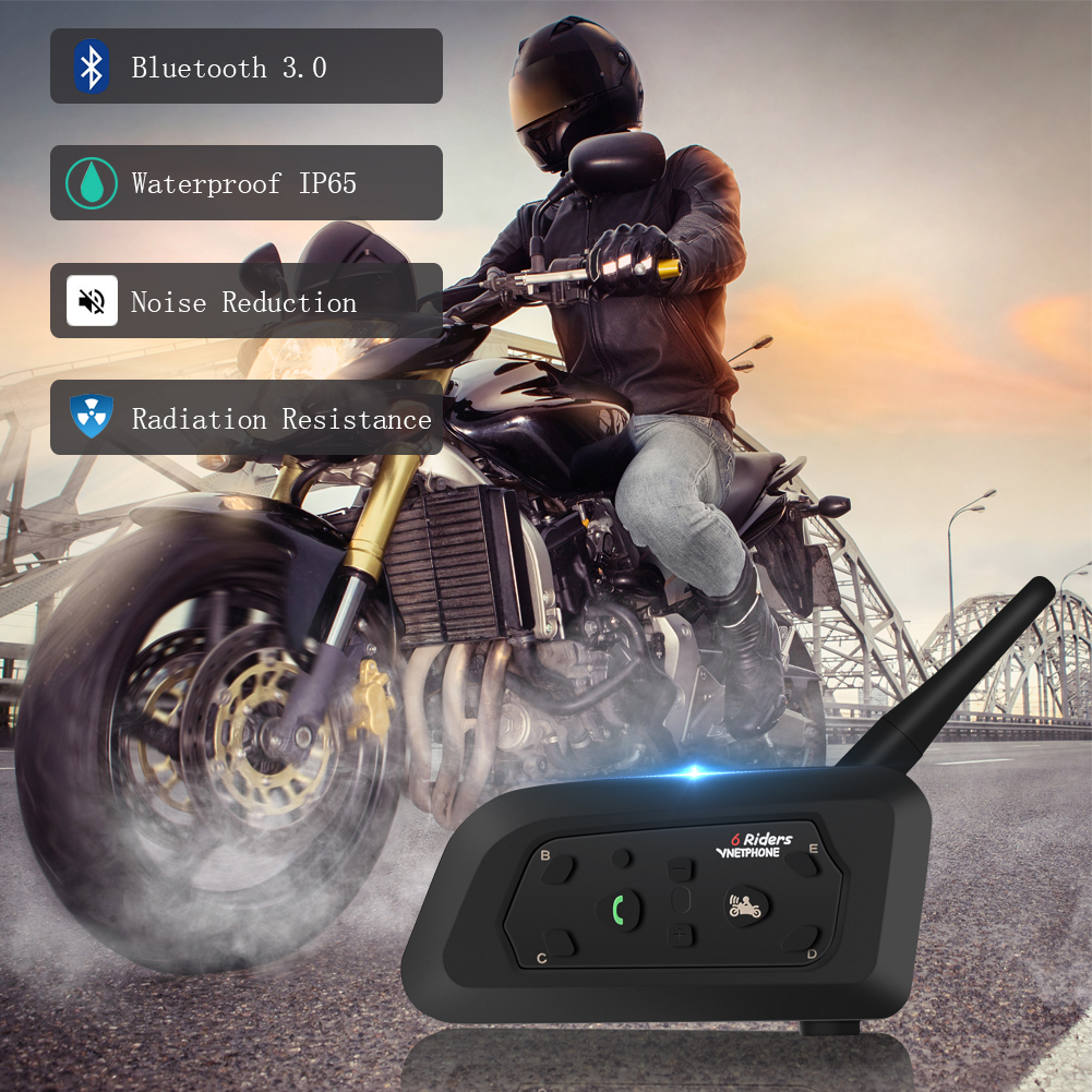 High quality v6 intercom for motorcycle helmet wireless interphone