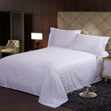 hot sale 100% cotton strip design best western hotel single size style living balfour used flat bedsheet bedding