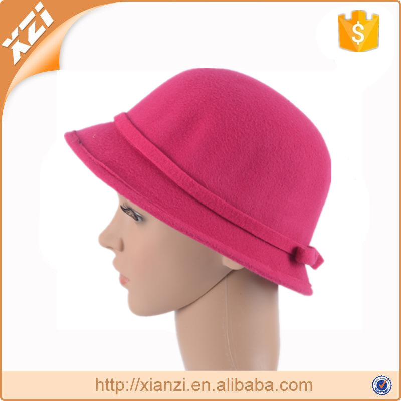 Bowknot cute girls hat ladies fake wool cap wholesale bucket hat