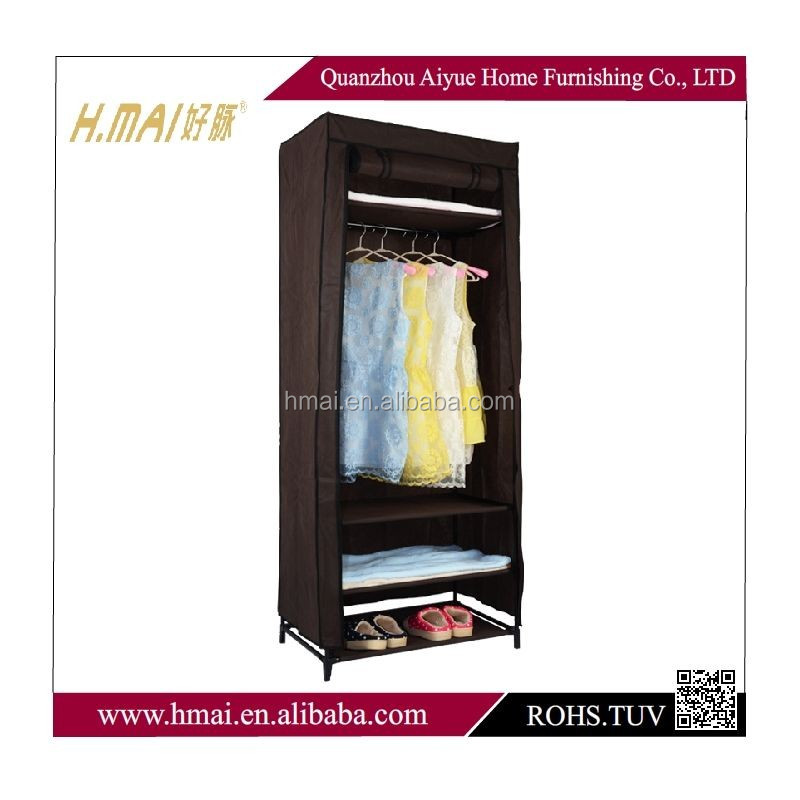 cheap corner wardrobe double doors fabric armoire closet
