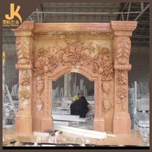 Stone carving fireplace