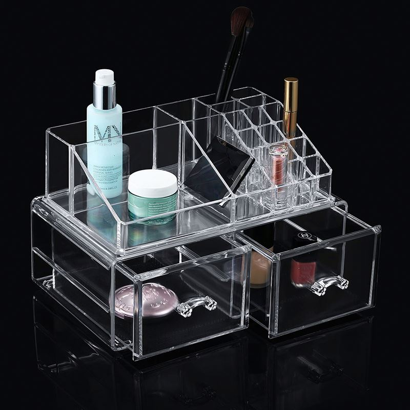 Customized clear round handle lucite desktop acrylic cosmetics makeup organizer with 5 drawers
