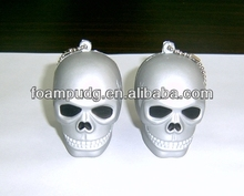 Halloween anti-stress PU foam skull shape keychain