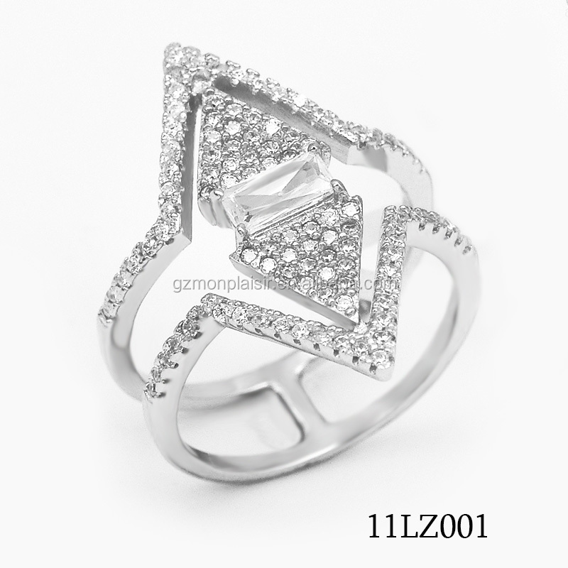 925 Silver Ring with Open Lozenge Jewelry With Micro Pave CZ 11LZ001