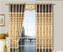 china wholesale ready made beautiful stripe design flocking curtain,ready made curtains for living room
