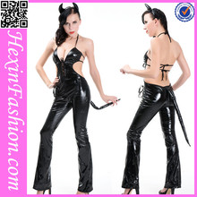 Wholesale Open Back Black Cat Suit Halloween Costume