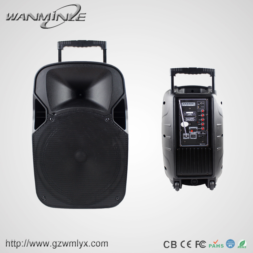 "New active 15"" big bass 2.0 BT portable trolley speaker with USB/FM for home"