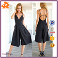 New model hot style wide-legged pant small quantity deep V neck ladies jumpsuit