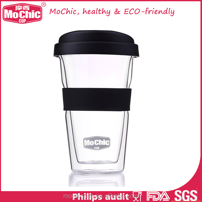 Mochic 2017 travel coffee mug insulated double wall glass cup with lid