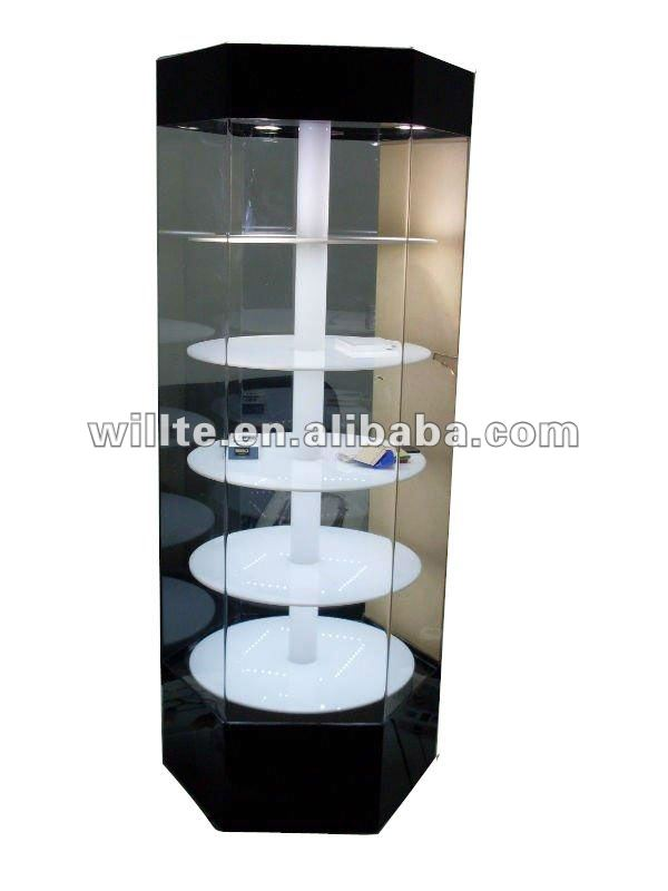 Acrylic cabinet rotating display case with LED light