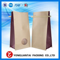Kraft Paper Flat Bottom Coffee Bag With Window And Valve