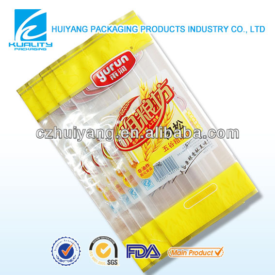 Inflatable plastic bags for coarse food grain cake with dried meat floss packaging