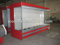 Upright Open Front Display Fridge for Vegetables and Fruits
