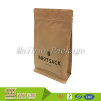 Customized Laminated Resealable Flat Bottom Side Gusset Heat Sealed Brown Kraft Paper Coffee Bags