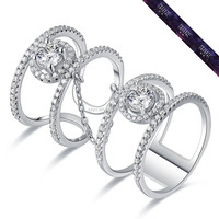 SR0108-Chain Link Finger Ring In 925 Sterling Silver Diamonds Rings Price