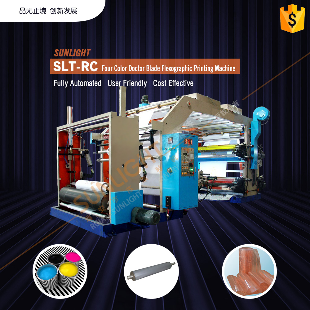 SLT-RC lowest price four colors kraft paper bag flexo graphic printing press
