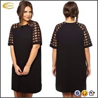 Ecoach Wholesale OEM Women Simple Design Loosing Fitting Plus Size Dresses Mesh Plaid Short Sleeves O Neck Black Mini Dress