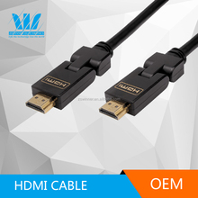 High Speed rotation 90 degree hdmi TV cable 1.4 with support 3D 1080P