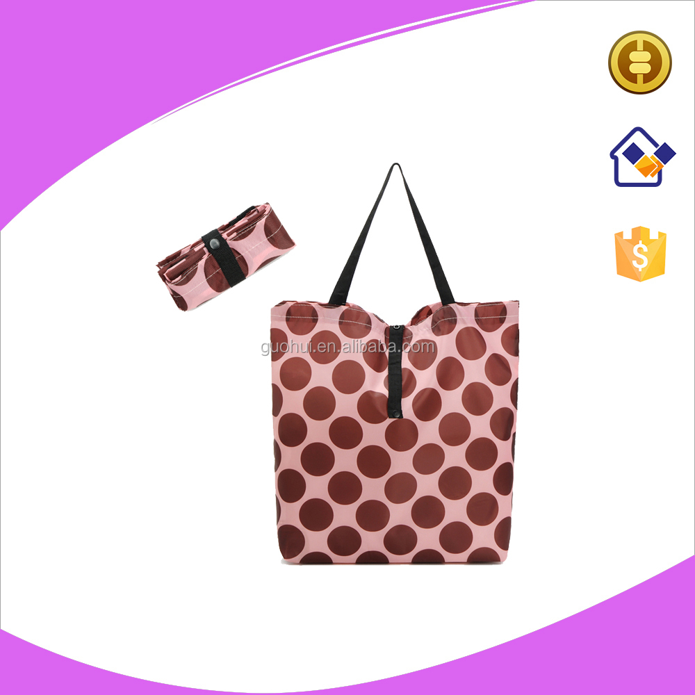 Foldable polyester reusable shopping eco bag with printed design