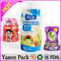 YASON stand up spout bag for beverages like milkshakes standup plastic pouch resealable spout liquid bag stand up packaging pouc