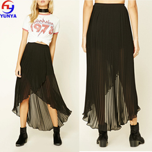 2017 latest design long pleated black chiffon fabric magic wrap skirt