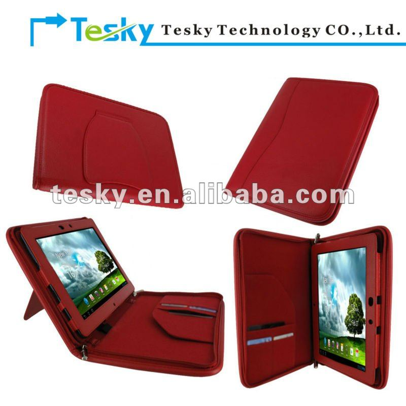 RED color PU leather zipper case cover with stand for asus transformer prime eee pad tf300 tf300t