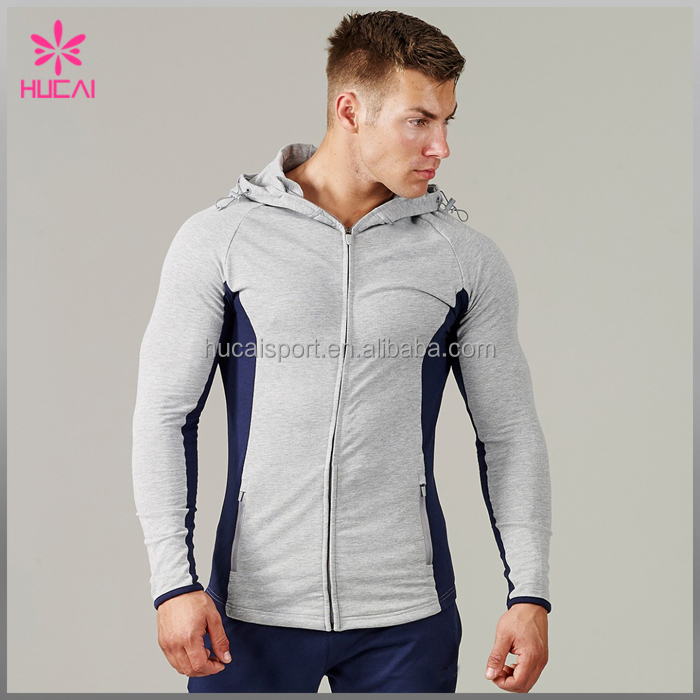 Wholesale winter sportswear mens plain cotton gym training tracksuits with hoodies