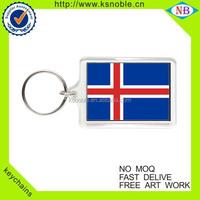 Wholesale Iceland souvenir custom clear plastic acrylic keychains