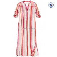 Apple Pink Striped Cotton Gauze Classical Girls Caftan Dresses 2015 new arrival
