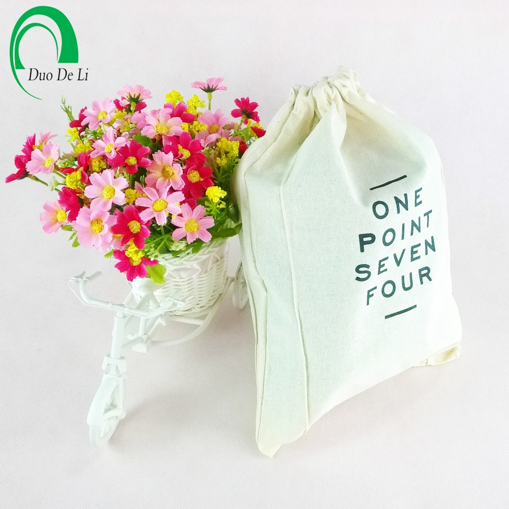 Top quality customized printed small drawstring cotton bag
