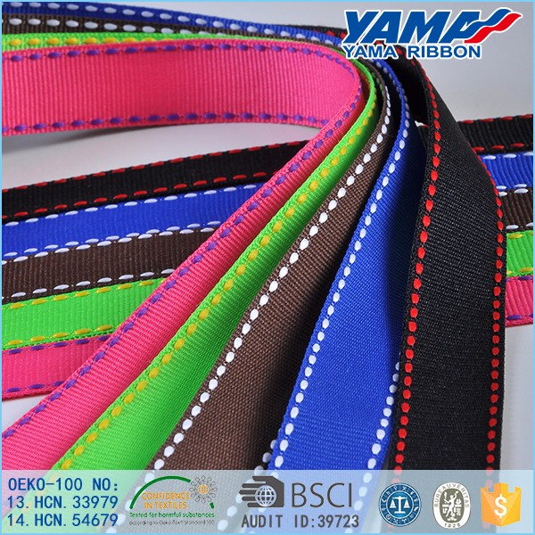 Factory supply best price double faced solid color celebrate stitch grosgrain ribbon