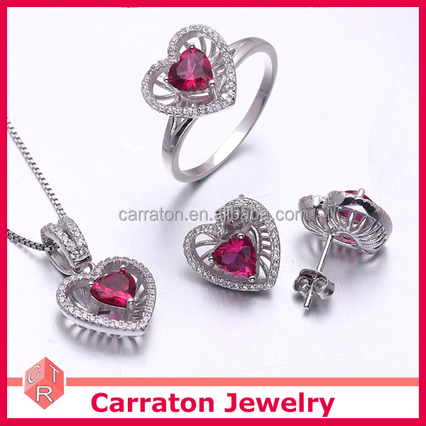 Factory Wholesale 925 Solid Silver Ruby Heart Shape Jewelry Set For Valentine's Day