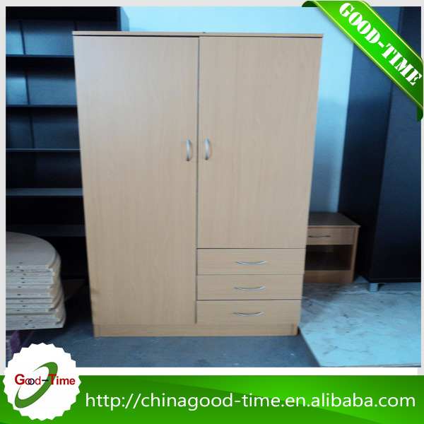 Wooden grain melamined particle board unique wholesale cheap double doors clothes cabinet bedroom wardrobe