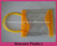 High quality pvc button handle bag ,snap button pvc tube handle bag