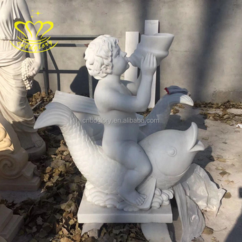 Outdoor Garden Home Decor China Suppliers Marble Little Boy Blowing Conch Riding A Fish Water Fountain