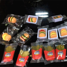 Assorted fruit flavors fast food series mini gummy candy halal beef burger