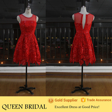 Real Sample Sleeveless Patterns of Lace Evening Dress Red Short Cocktail Dress