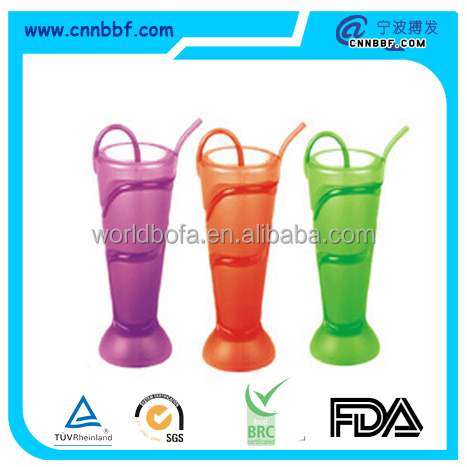 Custom Party suppluy cup with straw/Lumo Tumbler 500ml Blow Moulded Wrap Around Straw Navy