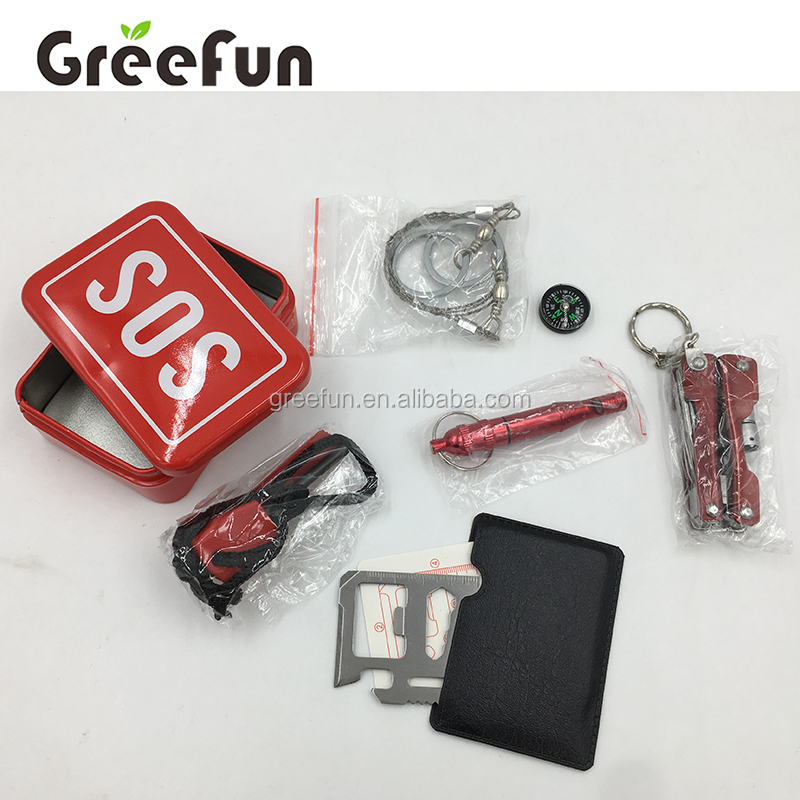 6 in 1 Camping Hiking Hunting Survival Gear With Safety Whistle , Compass , Emergency Survival Kit With Survival Card Tools