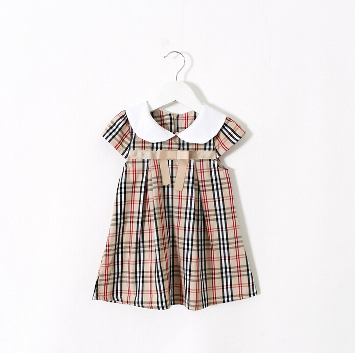 CB1134 high-end kids short sleeve plaid dresses for girls